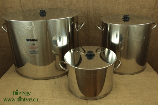 Stock Pots of Stainless Steel 0.8 mm with Bottom 1.2 mm