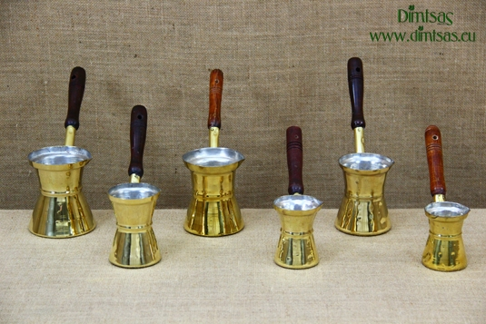 Brass Hammered Coffee Pots with Wooden Handle