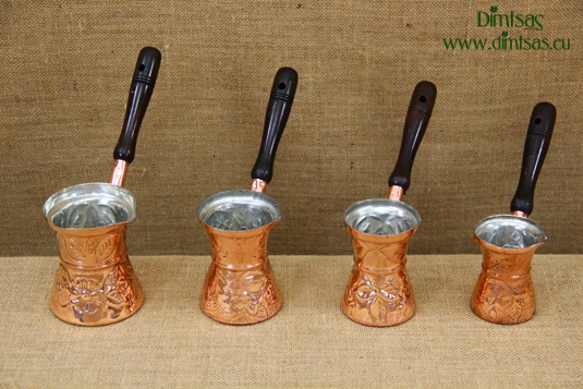 Copper Carved Coffee Pots with Wooden Handle