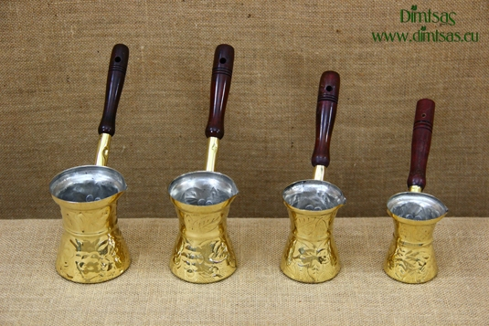 Brass Carved Coffee Pots with Wooden Handle