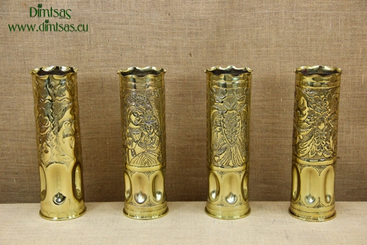 Trench Art Brass Shell Casings Engraved Size No5