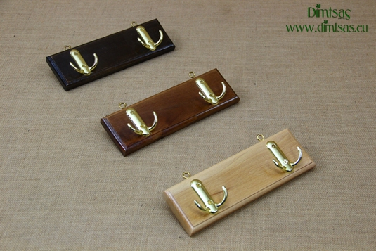 Wooden Wall Hanger with 2 Metal Hooks