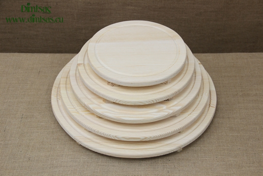 Round Wooden Cutting Surfaces - Wooden Serving Plates with Groove