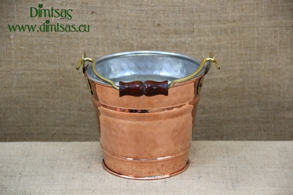 Copper Bucket Hammered Tinned No2
