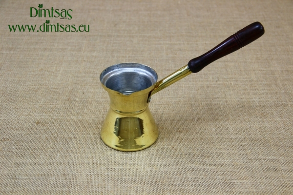 Brass Hammered Coffee Pot with Wooden Handle No6