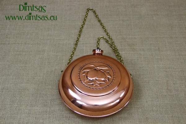 Copper Flask Engraved Hanging Antiqued