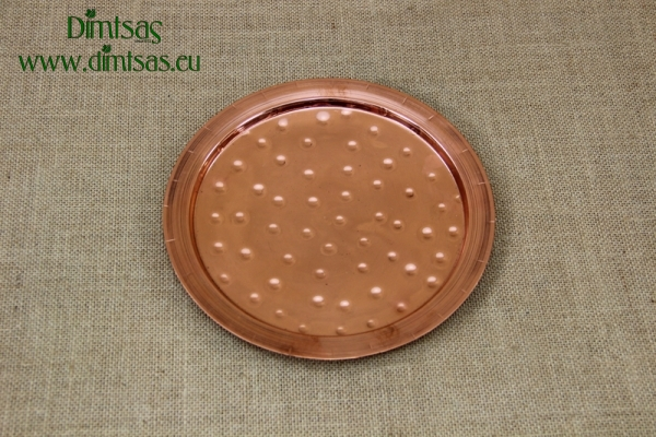 Copper Serving Tray Round Hammered No22