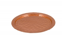 Copper Serving Tray Round Hammered No24 Fifteenth Depiction