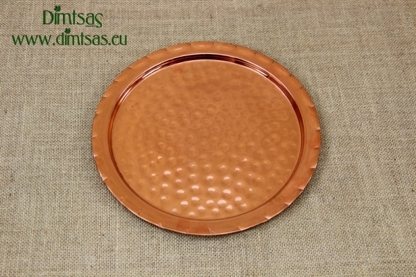Copper Serving Tray Round Hammered No24