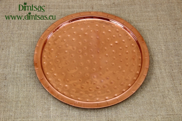 Copper Serving Tray Round Hammered No28