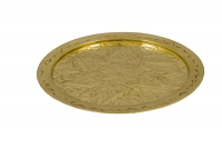 Brass Serving Tray Round Engraved No26 Eleventh Depiction