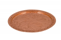 Copper Serving Tray Round Engraved No22 Twenty-first Depiction