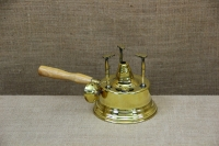 Antique Brass Camping Stove With Wooden Handle First Depiction