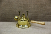 Antique Brass Camping Stove With Wooden Handle Third Depiction