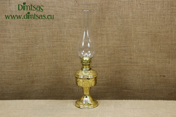Brass Oil Lamp Tabletop Engraved Vintage No2