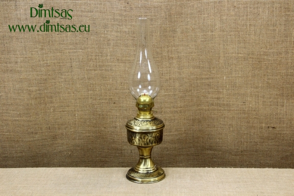 Brass Oil Lamp Tabletop Engraved  Vintage No1