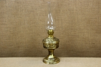 Brass Oil Lamp Tabletop Engraved Vintage No2 First Depiction