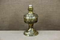Brass Oil Lamp Tabletop Engraved Vintage No2 Second Depiction