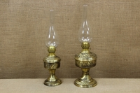 Brass Oil Lamp Tabletop Engraved Vintage No2 Fourth Depiction