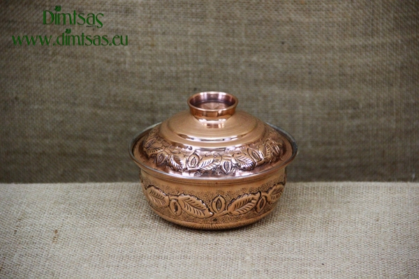 Copper Mini Pot Curved Engraved No3