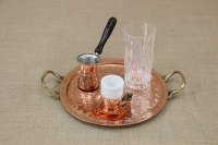 Copper Serving Tray Round Engraved with Handles No26 Third Depiction