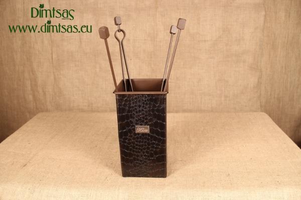 Αξεσουάρ Τζακιού - Τετράγωνο Μικρό Δερματίνη Κροκό Καφέ
