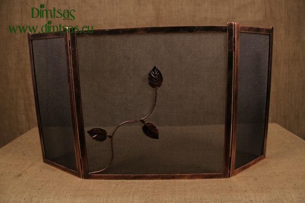 Προστατευτικό Τζακιού - Λάμα Ίσια Φύλλα Χάλκινη