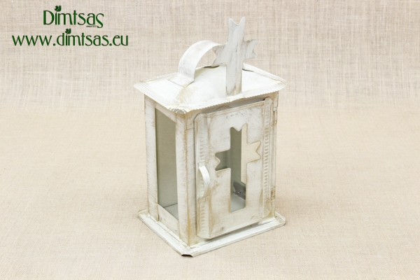 Small Oil Cemetery Candle Box with Glass Patina Ecru