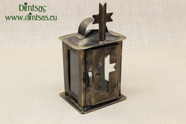 Small Oil Cemetery Candle Box with Glass Patina Bronze