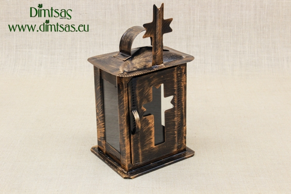 Small Oil Cemetery Candle Box with Glass Patina Copper