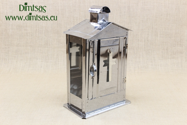 Big Cemetery Candle Box with Glass Inox