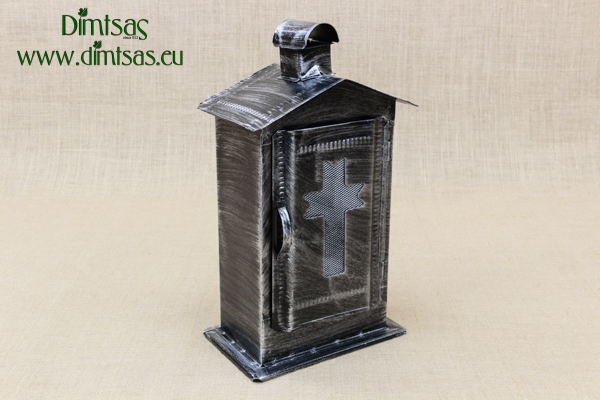 Small Cemetery Candle Box Patina Silver