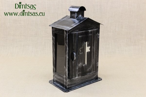 Small Cemetery Candle Box Wrought Grey