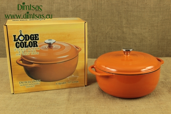 Enameled Cast Iron Dutch Oven - Casserole 5.7 lit Brown