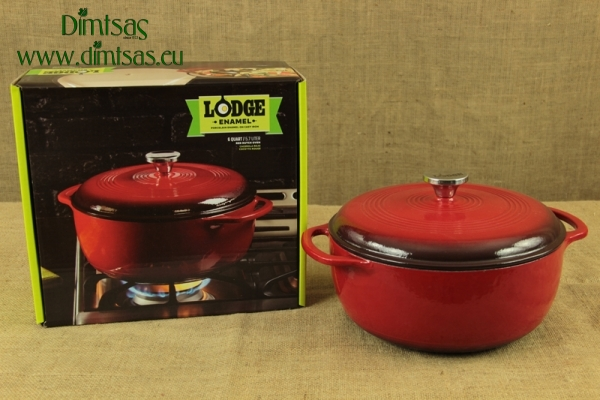 Enameled Cast Iron Dutch Oven - Casserole 5.7 lit Red