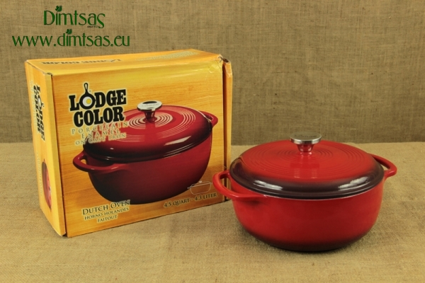 Enameled Cast Iron Dutch Oven - Casserole 4.3 lit Red