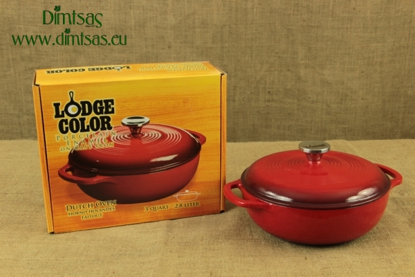 Enameled Cast Iron Dutch Oven - Casserole 2.8 lit Red