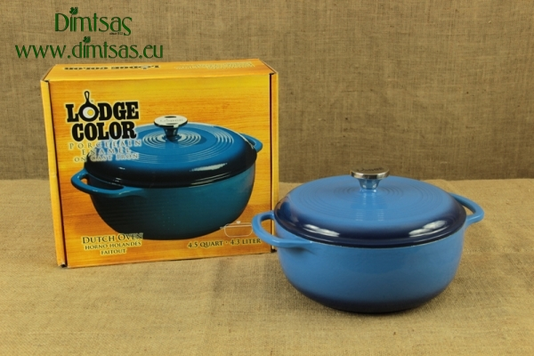 Enameled Cast Iron Dutch Oven - Casserole 4.3 lit Blue