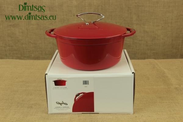 Enameled Cast Iron Dutch Oven - Casserole 5.7 lit Patriot Red