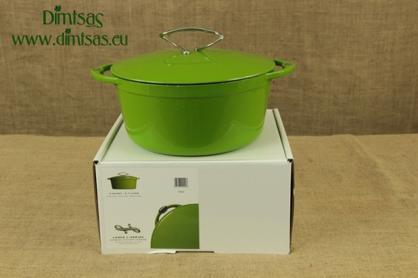 Enameled Cast Iron Dutch Oven - Casserole 5.7 lit Apple Green