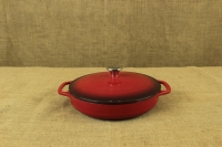 Enameled Cast Iron Casserole - Shallow Pot 2.8 lit Red Second Depiction