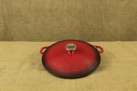 Enameled Cast Iron Casserole - Shallow Pot 2.8 lit Red Fourth Depiction