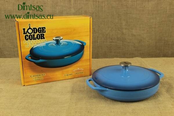 Enameled Cast Iron Casserole - Shallow Pot 2.8 lit Blue