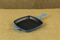 Enameled Cast Iron Square Grill Pan Lodge 26 cm Blue First Depiction