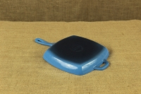 Enameled Cast Iron Square Grill Pan Lodge 26 cm Blue Second Depiction