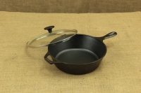Lodge Cast Iron Deep Skillet with Glass Cover 26 cm – 2.8 lit – Depth 7 cm First Depiction