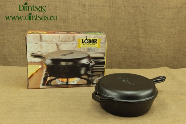 Lodge Cast Iron Combo Cooker 26 cm – 2.8 lit – Depth 7 cm