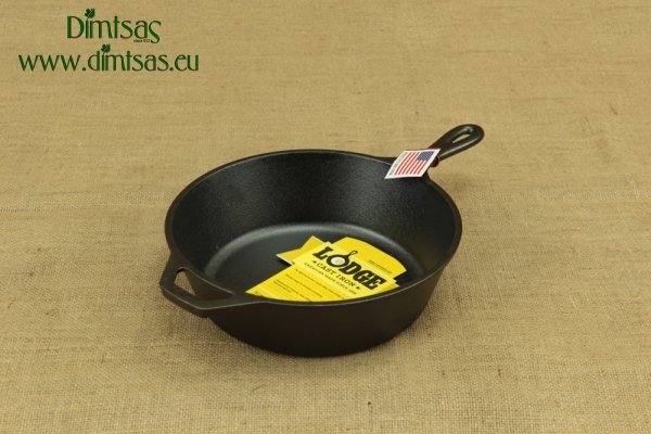 Lodge Cast Iron Deep Skillet with Glass Cover 26 cm – 2.8 lit – Depth 7 cm
