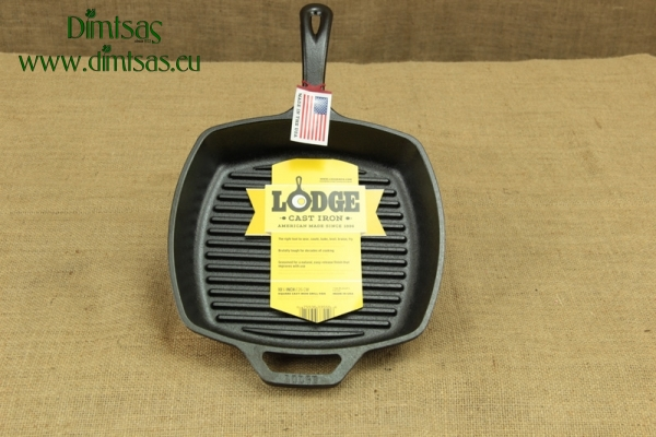 Lodge Cast Iron Square Grill Pan 27 cm – Depth 4.5 cm