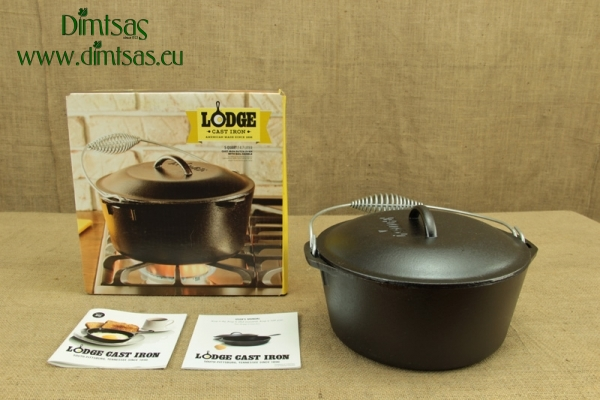 Lodge Cast Iron Dutch Oven with Spiral Bail Handle 4.7 lit